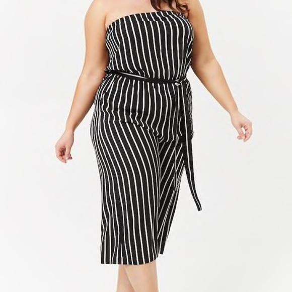 9e84d54dde8b7 Plus Size Striped Culotte Jumpsuit